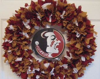 """18"""" FSU Fabric Wreath-Picture displays how your wreath will look with team logo (must be attached by consumer)"""