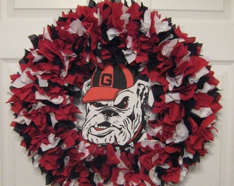 "18"" Georgia Bulldogs Fabric Wreath-Picture displays how wreath will look with team logo (must be attached by consumer)"