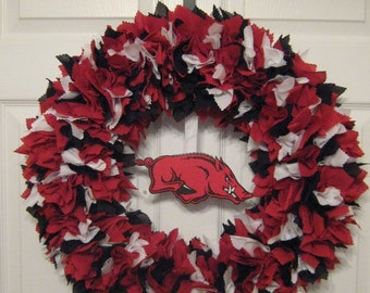 "18"" Arkansas Razorbacks Fabric Wreath-Picture displays how wreath will look with team logo (must be attached by consumer)"