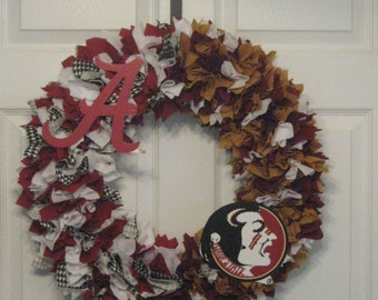 "18""  Fabric  House Divided Wreath-Picture displays how wreath will look with team logo-(must be attached by consumer)"
