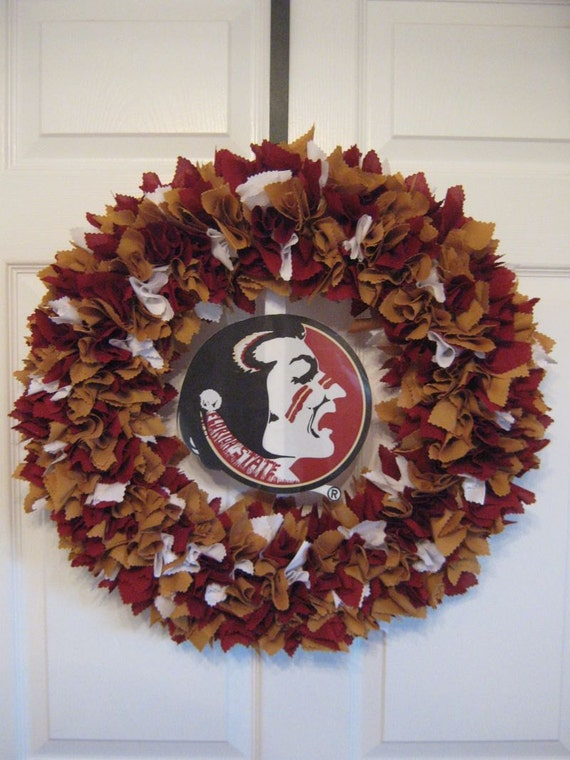 "18"" FSU Fabric Wreath-Picture displays how your wreath will look with team logo (must be attached by consumer)"