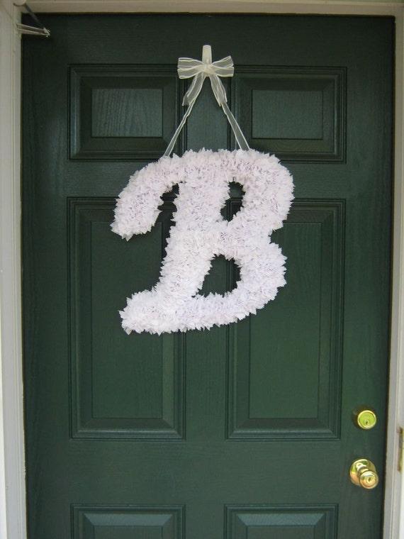 Customizable Fabric Letter Wreaths for Weddings/Front Door/indoor wall decor/Nursery/Hospital Door