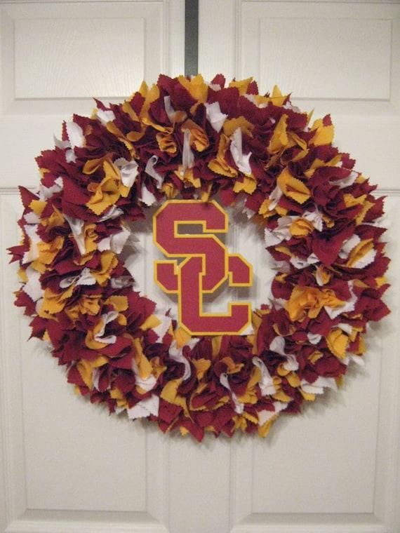 "CUSTOM-- (2)-- 18"" University of Southern California Fabric Wreaths"