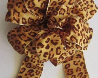 Christmas Bow, Leopard Bow, Copper Brown Bronze Bow, Wreath Bow, Tree Topper Bow