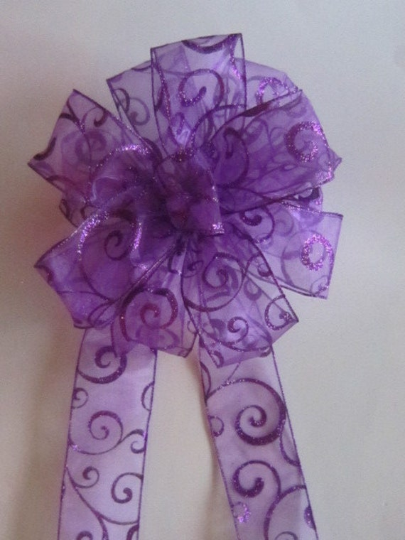 Purple Christmas Bow For Wreath Or Tree By Topitofftreetopbows