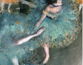 Fine Art Reproduction. Green Dancer (Danseuse Verte), c. 1880. Pastel Drawing by Edgar Degas, Fine Art Print.