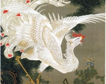 Japanese Art. Fine Art Reproduction. Phoenix and Pine Tree, c.1760 by Ito Jakuchu. Fine Art Print