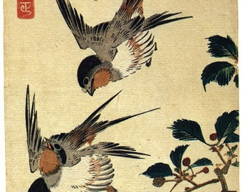 Japanese Art. Fine Art Reproduction. Hiroshige - Birds: Five Swallows in Flight, c.1830s. Fine Art Print