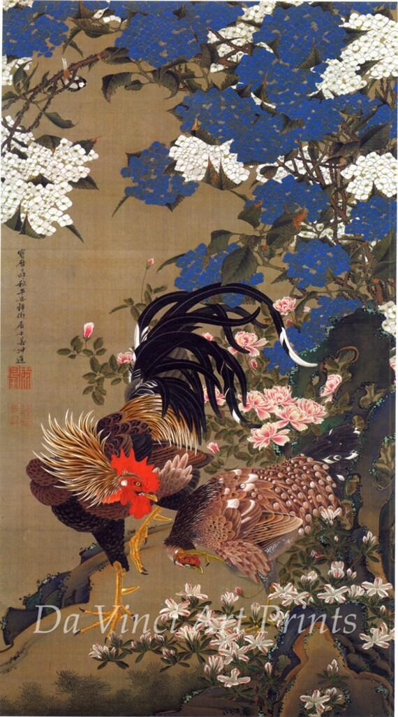 Japanese Art. Fine Art Reproduction.  Hydrangeas and Fowl, c.1760 by Ito Jakuchu. Fine Art Print