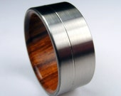 RESERVED LISTING -- Wood and Titanium ring -- Rosewood interior and Titanium exterior with pinstripe