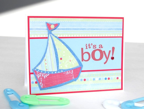 "Handmade Baby Boy Card ""Sailing Away"""