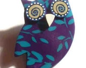 Violet/ turquoise Owl brooch-handmade polymer clay floral pattern- vintage ispiration