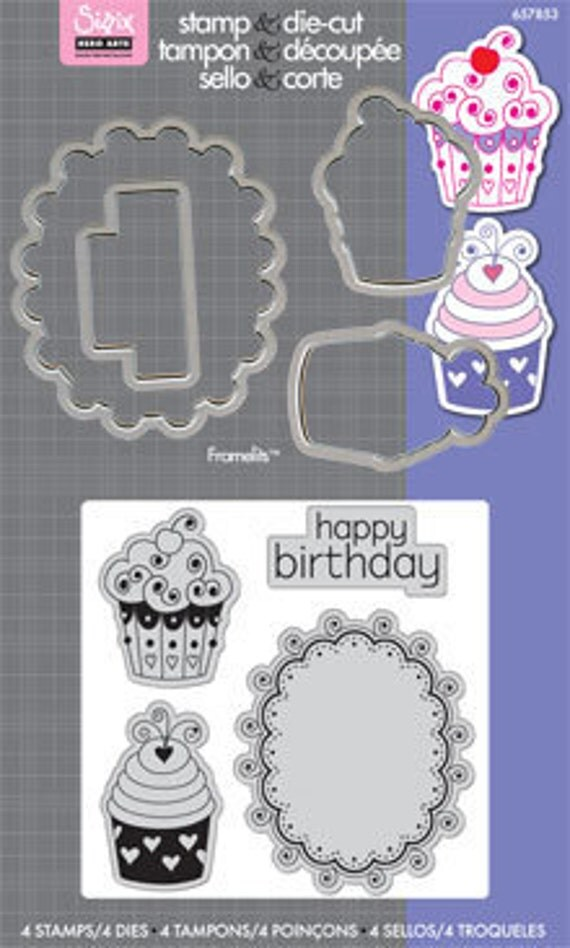 Sizzix Framelits Die Set 5 Pack With Stamps - Happy B-Day Cupcakes