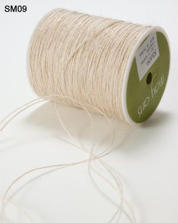 May Arts  - Burlap String -  10 Yards - Ivory - Wrapped On Chipboard Tag for Easy Storage and a No Tangle Mess