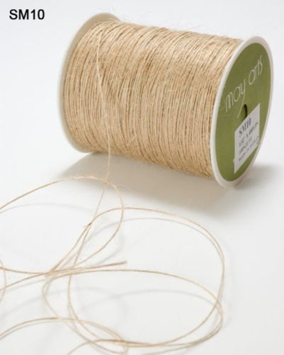 May Arts  - Burlap String -  10 Yards - Natural - Wrapped On Chipboard Tag for Easy Storage and a No Tangle Mess