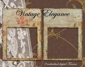 PHOTO FRAME ClipArt Picture frame Diecut for Photobook Layout and Scrapbooking Page Web Blog Printable Download Distressed Shabby Chic Fr05