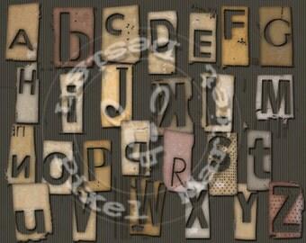 GRUNGE Industrial Alpha Clipart Digital ALPHABET Ransom Note Fonts Diecut Png for Scrapbooking Web Blog Design Clear Stamp Letter a01