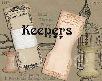 FRENCH VINTAGE Lace KEEPERS Printable Ribbon Holders Thread Spool Card Collage Sheet Printable Download Floss Keeper Storage Bobbin k03