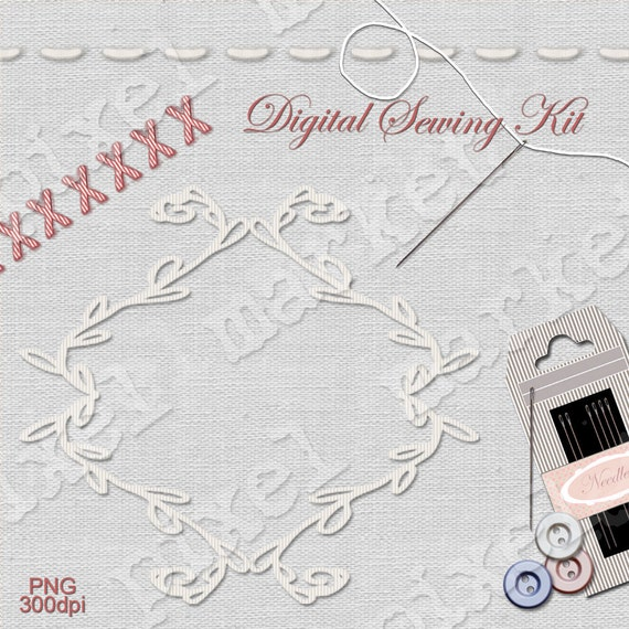 SEWING CLIP ARTS Digital Border Embroidery Frame Clipart Stitch Thread Needle Button Diecut Linen Paper Blog Background White b04