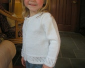 Hand knit toddler sweater in white