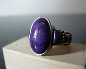 Vintage Silver Ornate Ring With Purple Gemstones