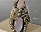 Vintage Silver Native American Style Swirls and Flowers with Pink Mother of Pearl
