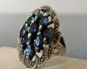 Vintage Silver Art Deco Cocktail Ring with Blue Gemstones