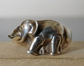 SALE Vintage Silver Elephant Ring with Movable Limbs and Trunk