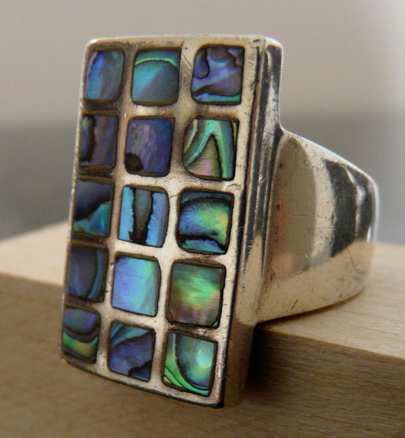 Silver Art Deco Abalone Ring Size 6