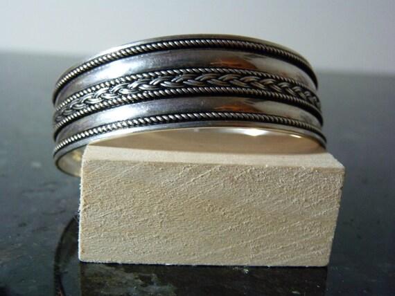 SUMMER SALE Vintage Silver Decorative Cuff Bracelet