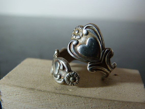 HOLIDAY SALE Vintage Silver Flatware Wrap Ring with Hearts