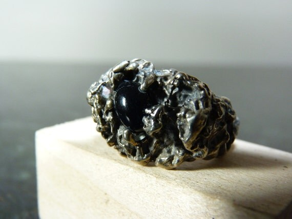 SALE Vintage Raw Silver Ring with Onyx