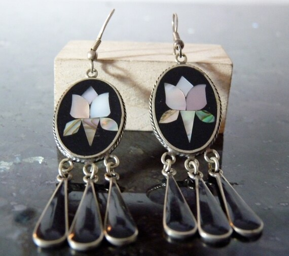 Vintage Silver Dangling Abalone Mosaic Earrings