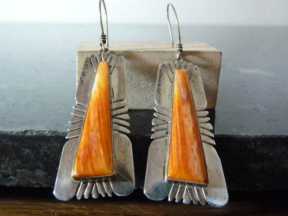 Vintage Silver Large Orange Coral Earrings