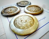 Extra Large Mother of Pearl  Carved Vintage Button (Set of 4)