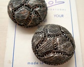 Silver Handmade Vintage Button( Set of 2)