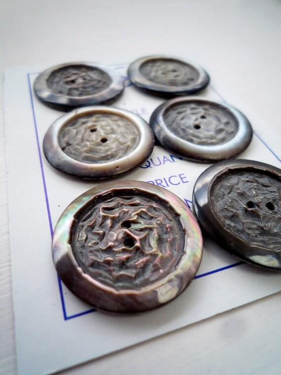 Dark Carved Mother of Pearl  Vintage Button (Set of 6)