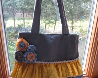 Made to order ruffle and flowers purse