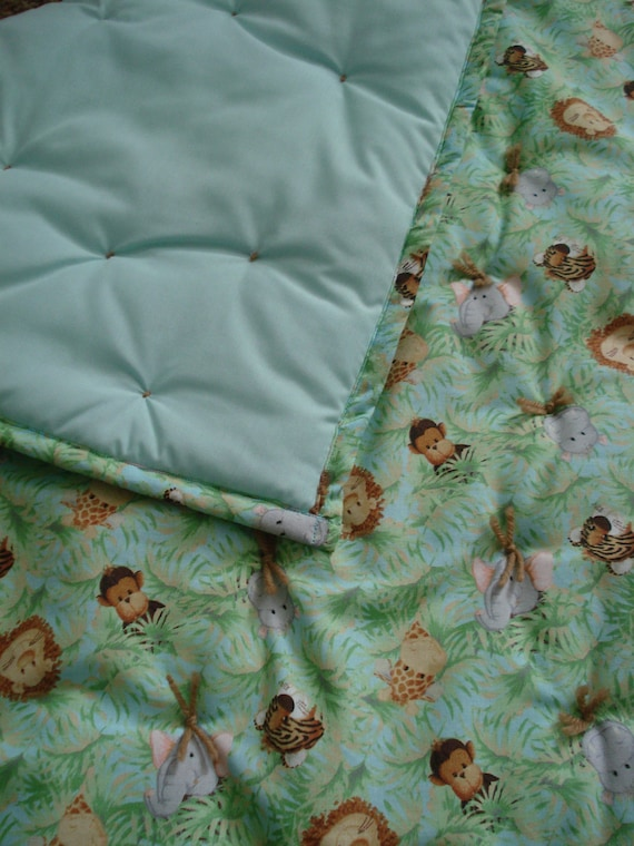 Baby Boy Jungle Print Hand Tied Quilt Ready to Ship