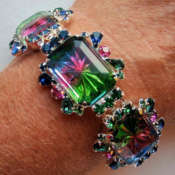 Vibrant Tourmaline, Fuchsia and Montana Sapphire Bracelet - Vintage Inspired