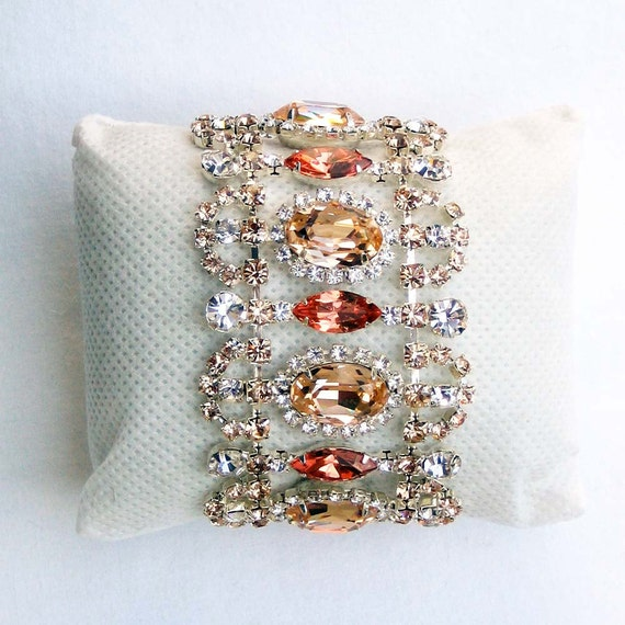 Peach and Crystal Cuff Bracelet - Vintage Inspired