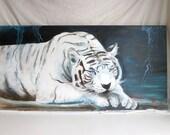 "Original acrylic on canvas, White Bengal Tiger, 48""x24"""