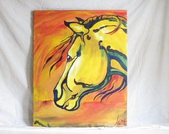 "Original, Horse Painting, Medium Size,  24""x30"" ""Sun Horse"""