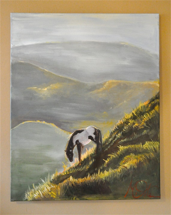 """ART FOR A CAUSE. Prevent Horse Slaughter. Original Acrylic on Canvas, """"Hills,"""" 24""""x30"""""""