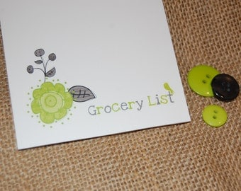 Personalized Custom Notepads - Gray and Lime Green Flowers with a Bird