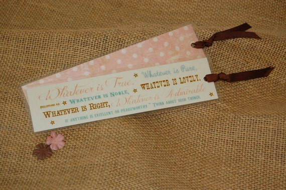 Scripture Bookmark - Philippians 4:8 Pink & Brown