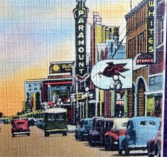 Old POSTCARD Street Scene AMARILLO Texas with Vintage Ads