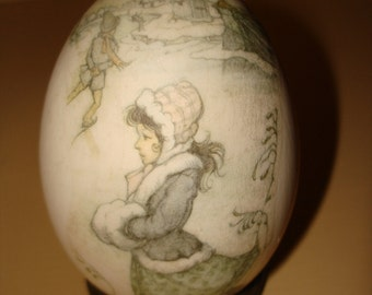 HAND blown decorated  goose egg Adorable DECAL on stand