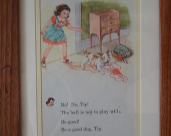 Vintage custom FRAMED Page from Child's book Janet and Tip the terrier DOG SWEET