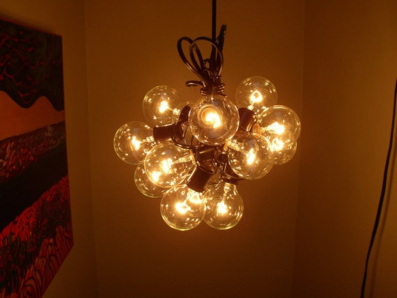 15 light Bulb lamp Recycled re purposed cluster bulb Chandelier